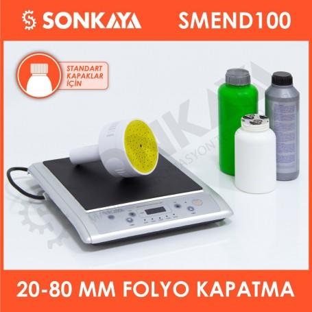 SMEND100 20-80mm Manuel Endüksiyon Emniyet Bandı Folyosu Şişe Kapatma Yapıştırma Makinası