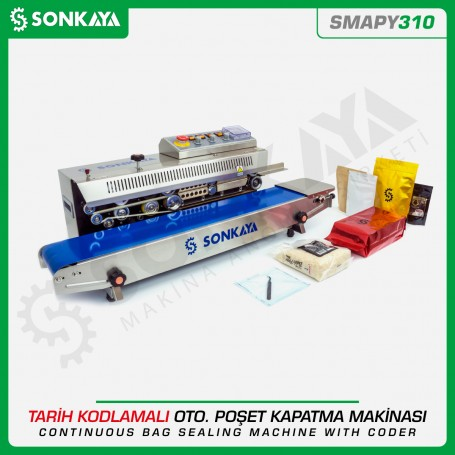 Sonkaya SMAPY310 Stainless Continuous Bag Sealing Machine With Coder