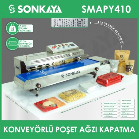 SMAPY410 Stainless Continuous Bag Sealing Machine With Coder