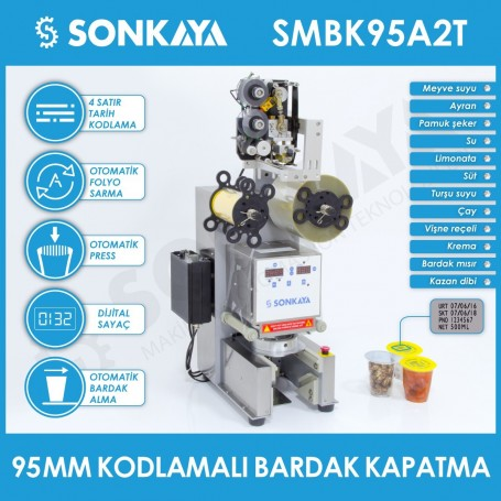 SMBK95A2T Semiautomatic Cup Sealing Machine 95mm With Coder