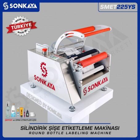 Sonkaya SMET225YS Yarı Otomatik Şişe Etiketleme Makinası Şeffaf Etiketler İçin
