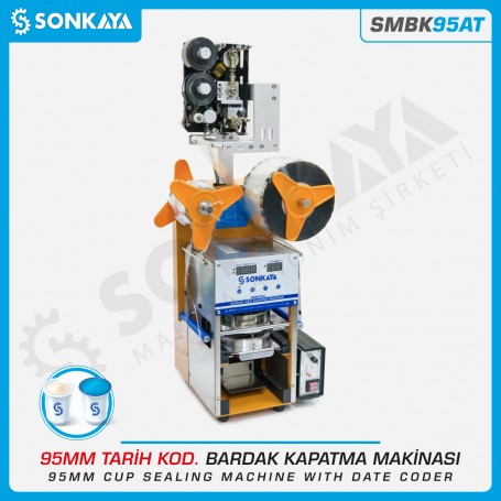Sonkaya SMBK95AT Semiautomatic Cup Sealing Machine 95mm With Coder