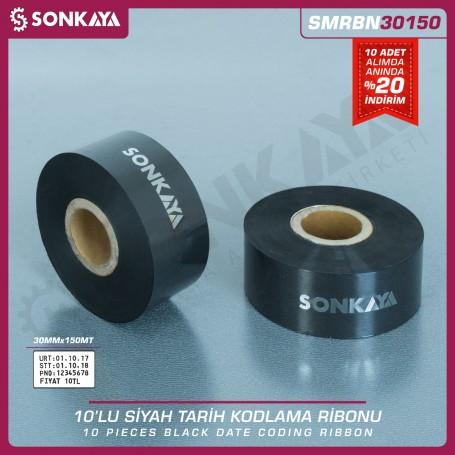 Sonkaya SMRBN150 Black Hot Stamping Foil Ribbon 30mm 150 Meters 10 Set