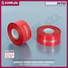 Sonkaya SMRBN30150 Kırmızı Sıcak Baskı Tarih Kodlama Ribonu 30mm 150 M