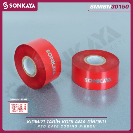 Sonkaya SMRBN30150 Red Hot Stamping Foil Ribbon 30 mm 150 Meters