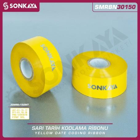 Sonkaya SMRBN30150 Sarı Sıcak Baskı Tarih Kodlama Ribonu 30 mm 150 M